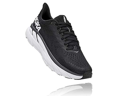 HOKA ONE ONE Women's Clifton 7 Running Shoe (Black/White, 8)