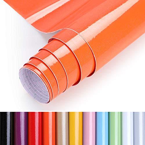 KINLO selbstklebende Folie Küche orange 40x500cm (2㎡) aus hochwertigem PVC Küchenfolie Klebefolie Tapeten Küche Aufkleber Küchenschränke wasserfest für Schrank Möbelfolie Deko folie MIT GLITZER