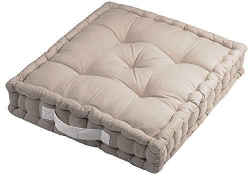 Alphadeco Sitzkissen Uni aus 100% Baumwolle (170g/m2) - 45x45x10cm - Bodenkissen, Stuhlkissen, Sitzerhöhung (Leinen)