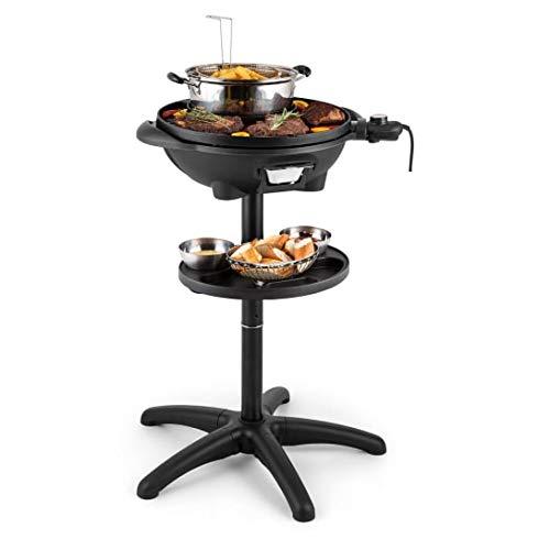 Parrilla eléctrica Klarstein Heat Line, 1600 W, 5 niveles de temperatura, sobre pie o grill de mesa, termómetro integrado, superficie de almacenamiento, maceta de acero, cesta para patatas fritas Ne