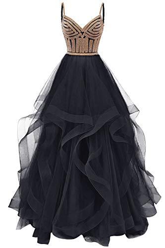 Abendkleid Lang A-Linie Ballkleid Hochzeitskleider Damen Prinzessin Abiballkleider Festkleider Ärmellos Navy 32