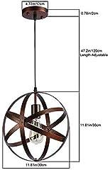 Vintage Industrial Spherical Pendant Light Metal Globe Chandelier Retro Cage Ceiling Light Rustic Hanging Light Fixture for Living Room Dining Room Hallway #2