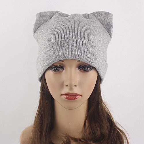 DOLPHINEGG Ladies Men Glänzend Gestrickte Hut Ski Snowboard Hüte Winter Warme Metallic-Häkeln Beanie Hut Mit Katzenohren,Gray
