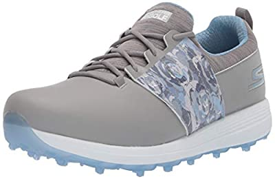 Skechers Women's Eagle Spikeless Golf Shoe, Gray/Blue Floral, 5.5 M US