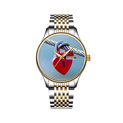 Claude Monet - Reloj de pulsera para hombre, mecanismo de cuarzo japonés, con fecha, acero inoxidable, color dorado