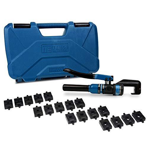 TEMCo Hydraulic Cable Lug Crimper TH0006 V2.0 5 US TON 12 AWG to 00 (2/0) Electrical Terminal Cable Wire Tool Kit with 18 Die Sets