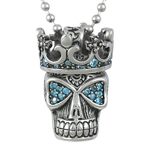 Necklace Retro Necklace Blue Skull Crown Pendant Fashion Punk Gothic Men And Women Gifts