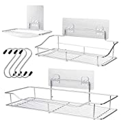 #LightningDeal pensar Shower Caddy Bascket with Soap Dish Holder Bathroom Storage Organizer SUS304 Stainless Steel Wall Mounted Bathroom Shelf with Adhesive Storage Organizer for Toilet Dorm and Kitchen (White)