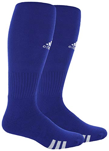 adidas Unisex Rivalry Field 2-Pack Otc sock, Cobalt Blue/White, Large