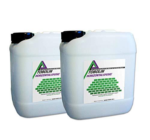 Nachfüllkanister (2 x 5 L) für Tobolin Horizontalsperre Injektionsflaschen – Verkieselungsmittel zur Mauerwerkstrockenlegung und Wasserschadensanierung - Hocheffektiv gegen aufsteigende Feuchtigkeit