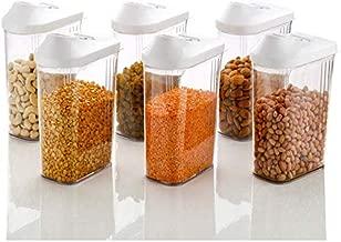 RYLAN Easy Flow Plastic Kitchen Storage Jars and Container Set, Kitchen Storage Container, Cereal Dispenser Storage, Jar Set for Kitchen Plastic,Kitchen Storage Jars Set of 6 (White)