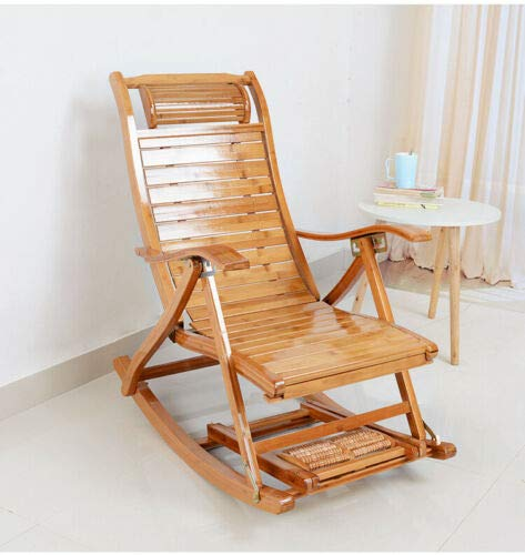 Bamboo Rocking Chair Lengthen Arm Chair Indoor Balcony Relaxing Recliner Outdoor