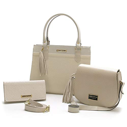 Bolsas Femininas Grande, Pequena e Carteira Santorini Handbag (Creme)