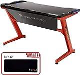 Ficmax Computer-Spieltisch Z-Bein-Spieltisch mit LED-Licht Ergonomischer PC-Schreibtisch für Gamer Pro-Computertisch mit Leder-Fender-Stoff in Z-Form Home-Office-Schreibtisch Großer (rot) - 2