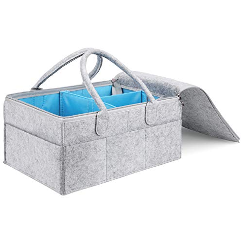 MaidMAX Cestino Portaoggetti per Pannolini Bambini, Baby Diaper Caddy, Portatile Organizzatore Neonati Regali, Sacchetto per Salviette, Neonati Battesimo Regalo, Grigio e Blue