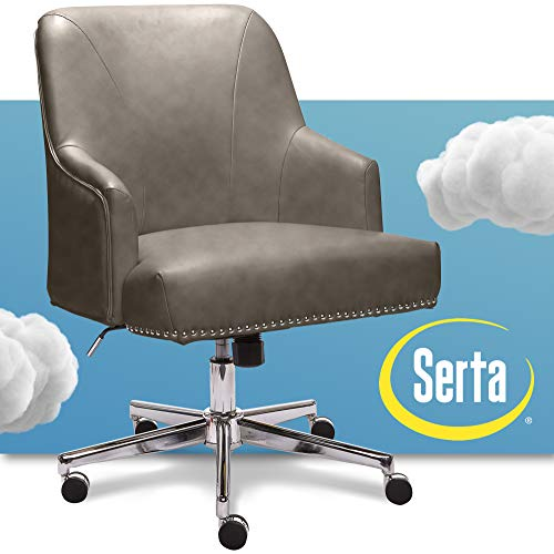Serta Leighton Home Office Chair With Memory Foam Height Adjustable Desk Accent Chair With Chrome Finished Stainless Steel Base Bonded Leather Gray Gathering Gray Model 47925g Buy Online In Colombia Serta Products In