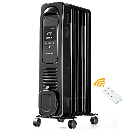 EUHOMY Oil Filled Radiator Space Heater with Remote Control, 1500W Electric Radiator Heater with Timer, Overheat and Tip Over Protection, Portable Space Heater with Wheels for Indoor Use (Black)