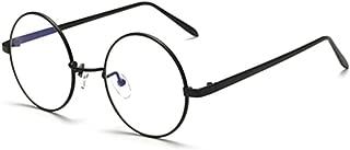 Metal Silver Frame Flat Glasses Round Retro Clear Lens Eyeglasses for unisex
