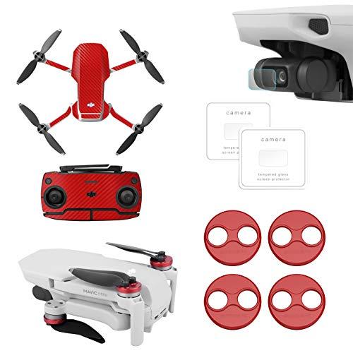 Rantow Pellicola in Vetro temperato AntiGraffio da 2 pacchi + Coperchio Rosso del Motore + Adesivo Decorativo Conchiglia Rossa Fai da Te per DJI Mavic Mini Drone