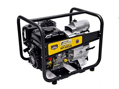 Briggs & Stratton Hochleistungs- & Tragbare Benzin Schmutzwasserpumpe mit 45 000 l/h Förderleistung ✦ 25m Wasserhub ✦ 3600 U/min Viertakt-Benzinmotor und enthaltenem Zubehör, von WASPPER (WP30D-B)