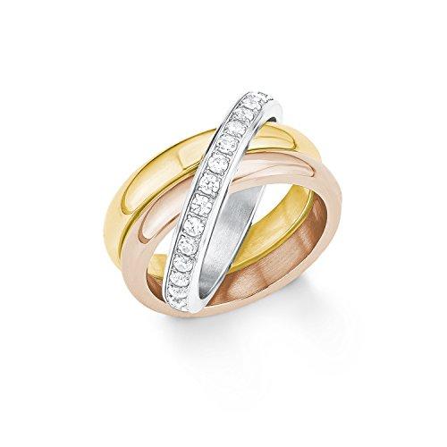 s.Oliver Damen-Ring Tricolor Edelstahl Zirkonia weiß Gr. 56 (17.8)-2012552