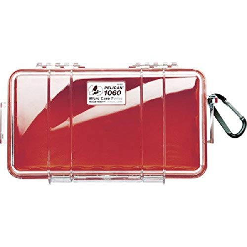Pelican 1060 Micro Case - for iPhone, Cell Phone, Gopro, Camera, and More (Maroon Red/Clear)