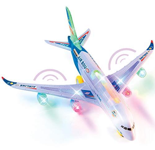 Top Race Modèle de jouet Airbus de haute course avec de jolies lumières clignotantes attrayantes et de la musique forte, Bump and Go Action, jouets pour enfants enfants de 3, 4, 5,6 ans A380