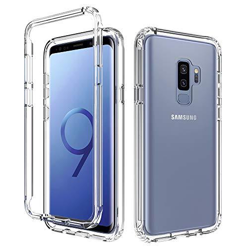 Almiao Funda Samsung Galaxy S9 Plus,Clear 360 Full Body Coverage Hard PC + Soft Silicone TPU 2in1 Funda para teléfono a Prueba de Golpes (Transparente)