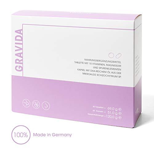 GRAVIDA APOTHEKENPRODUKT - VEGAN Folsäure 800 µg für Kinderwunsch, Schwangerschaft & Stillzeit - mit DHA EPA (Omega-3), Vitamin D & B12, 2-Monatspackung