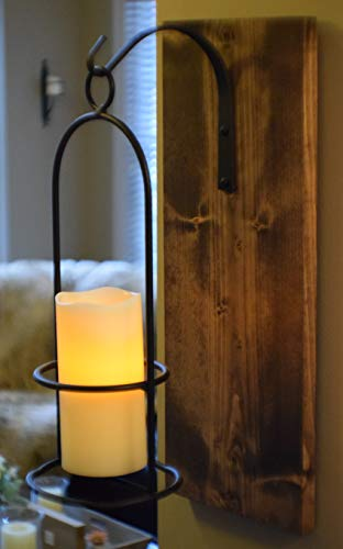 Rustic Large Wrought Iron Hanging Candle Sconce, 6 inch LED...