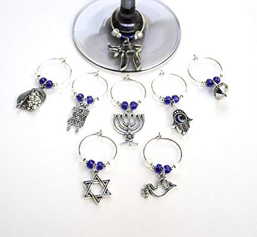 Jewish-Passover-Hanukkah Theme Wine Glass Charms-Set of 8-002-8