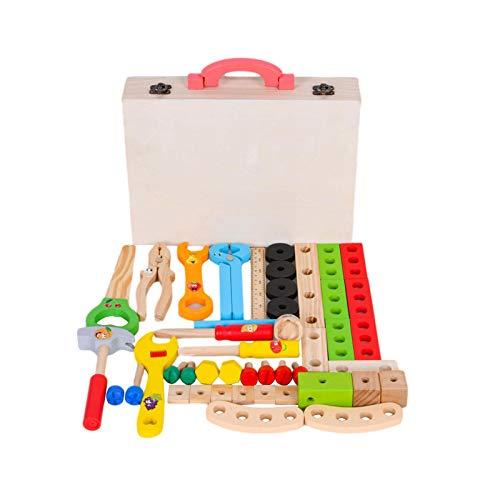 precauti Caja de herramientas de madera con herramientas de juego de simulación, juguetes educativos de construcción preescolar, pretende jugar juguetes para niños de 3 a 4 a 5 años de edad