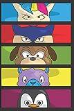 Einhorn Katze Hund Lama Pinguin Notizbuch: Dibuja y crea tu propio cómic: 6 x 9 con panel de cómic de 120 páginas de Journal Notebook para artistas de todos los niveles (Blank Comic Books)