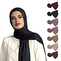 "NON-SLIP BREATHABLE MATERIAL - 67"" x 27"" (170 cm x 70 cm) Fabric is soft and easy to work with. Makes it the ideal jersey scarfs for women LIGHT WEIGHT AND EASY TO WEAR - the jersey scarf material is perfect for any wrap or turban styles. COMFORTABLE..."