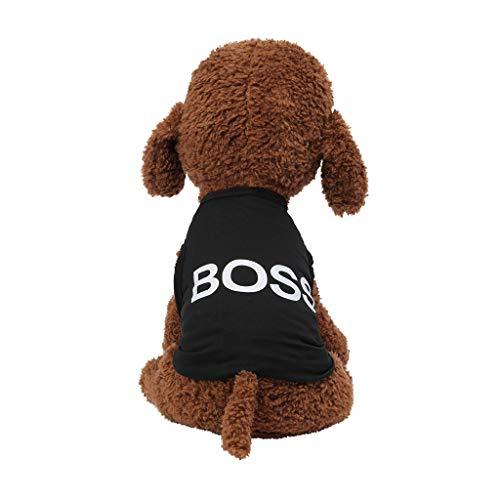 Coversolat Hundeshirt Kleine Hunde Sommer T-Shirt Weste Boss-Alphabet Drucken Hundekostüm für Französische Bulldogge Chihuahua