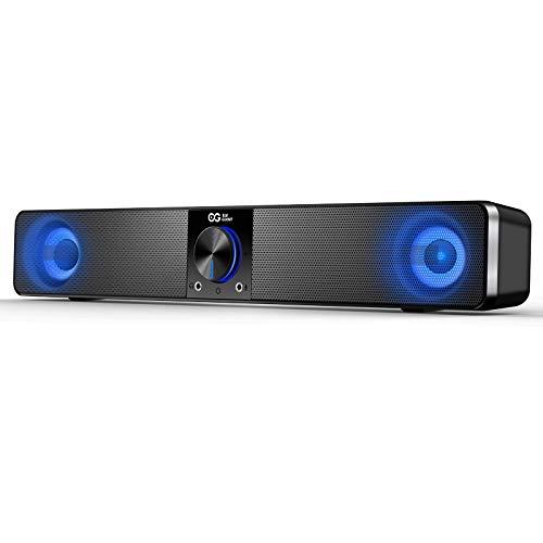 ELEGIANT PC Lautsprecher, USB Computer Lautsprecher 10W 2.0 Stereo Lautsprecheranlage, variable LED-Beleuchtung mit sieben Farben, geeignet für PC, Computer, Laptop, Notebooks, Smartphones, Tablet