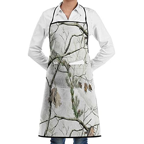 LOSNINA Delantal de cocina Impermeable y antiincrustante para hombres delantal de chef para mujeres restaurante de jardinería barbacoa cocinar hornear,Verdadero árbol de ramas