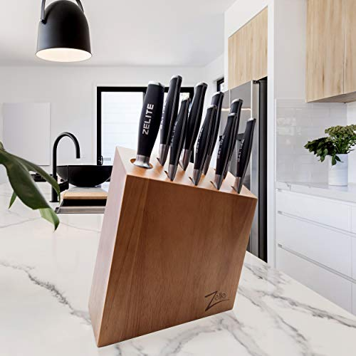 Zelite Infinity Knife Block Set (9-pc) - Comfort-Pro Series - German High Carbon Stainless Steel, Professional knife set, Wood Block