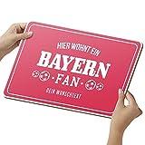 Elbeffekt Fussball Bayern Schild aus Holz - personalisierbares Geschenk - Wohnzimmer Deko - Opt. Beleuchtung - personalisierbar zum Hinstellen/Aufhängen - Bayern Geschenk - persönliches Geschenk