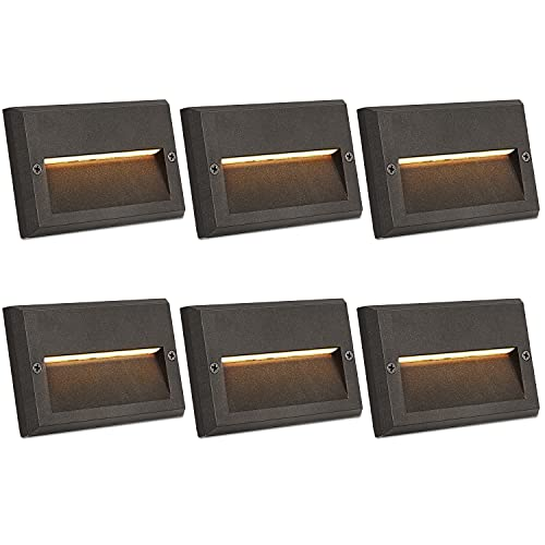 Hykolity Low Voltage LED Landscape Deck Light, 3W 49LM 12V Wired for Outdoor Yard Lawn Step and Stair Lighting, Die-cast Aluminum Construction, 10-Watt Equivalent, 15-Year Lifespan, 6 Pack