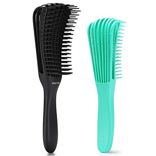 BESTOOL 2 Stück Haarbürste Entwirrungsbürste für Naturhaar für Afro-Haare 3a bis 4c Verworrenes, Welliges, Lockiges Haar, Entwirrer leicht mit Nass/Trocken, Verbesserung der Haartextur (Schwarz, Grün)