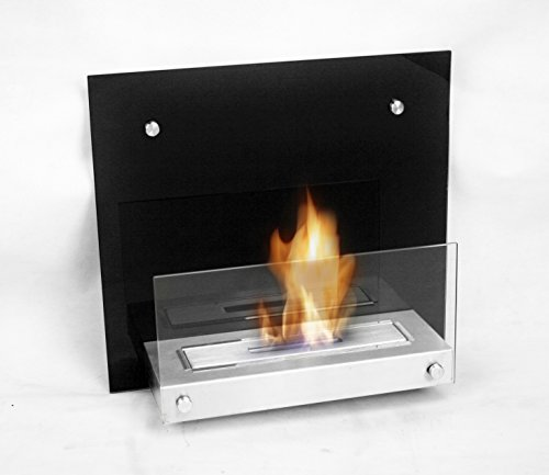 Chic Fireplaces Topeka Luxury Glass Metal Wall Mount Ventless & Uses Eco-Friendly Bio-Ethanol Fuel with Burner Insert, Gloss Black Modern & Stylish Design, Affordable & Portable Fireplace