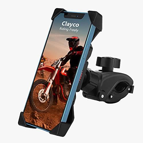 Clayco Handyhalterung Fahrrad, Motorrad Handyhalter 360° Drehbar Handyhalter Fahrrad für 4-6.8 Zoll Smartphone Geeignet für Rennrad, Motorrad, Elektroroller, Dynamisches Fahrrad (Schwarz)