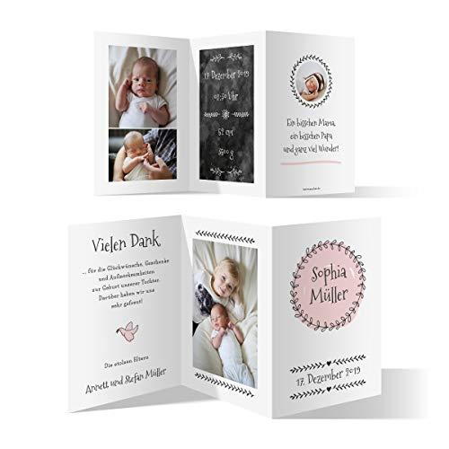 30 x Geburt Danksagungskarten Geburtskarten individuell mit Fotos und Text Wickelfalz DIN A6 - Geburtskranz