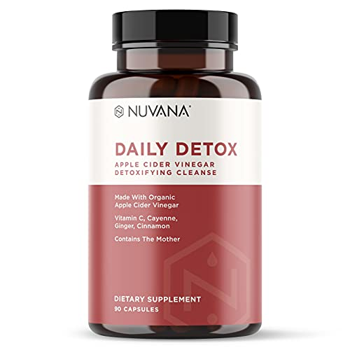 Daily Detox Cider Cleanse   Certified Organic Apple Cider Vinegar w/The Mother, Vitamin C, Ginger, Cinnamon & Cayenne   Prebiotic Thermogenic for Improved Digestion and Detox   90 Vegan Capsules