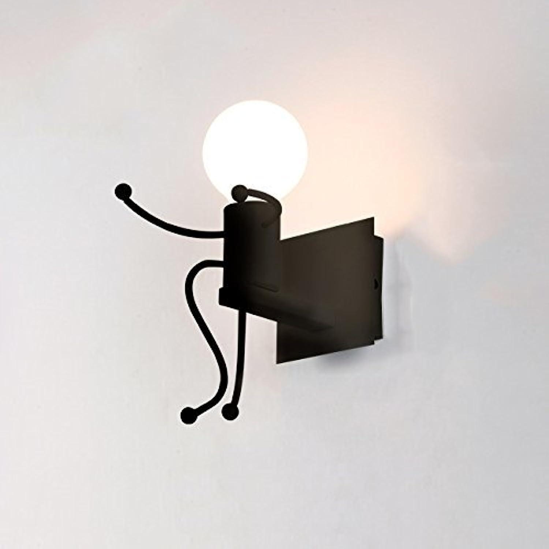 ZHANG NAN ●  Nordic Einfache Schmiedeeisen Wandleuchte Kreative Humanoide Design Wandleuchte Wohnzimmer Schlafzimmer Kinderzimmer Geschmack Wandleuchte (Farbe  Schwarz-Einzelkopf) ●