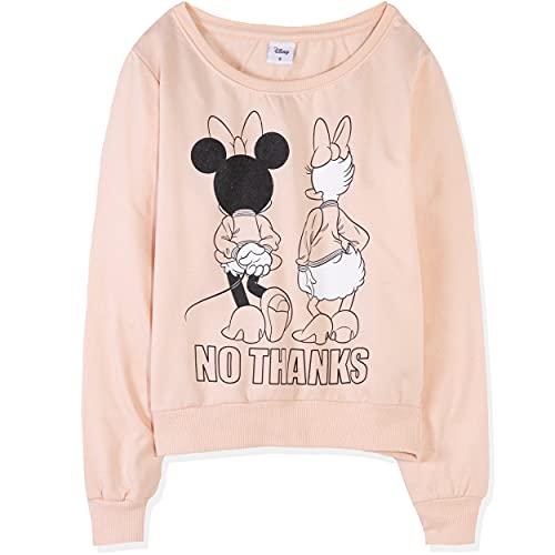 Sudadera oficial de Disney con diseño de Minnie Mickey Mouse / Disney Villains / Mujeres, Adolescentes de Algodón - XS S, M, L XL, melocotón, M