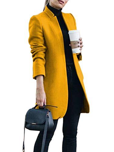 Onsoyours Damen Mantel Trenchcoat Mit Gürtel Mantel Revers Faux Für Lose Langarm Outwear Tasche Reißverschluss Winterjacke Mode Kurz Coat Wollmantel A Gelb S