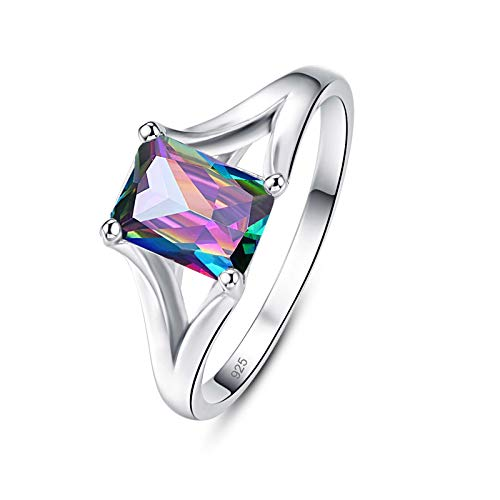 Emsione 925 Sterling Silver Plated Created Rainbow Topaz Emerald Cut Split Shank Solitaire Eternity Promise Ring Engagement Wedding Bands for Women Size 8