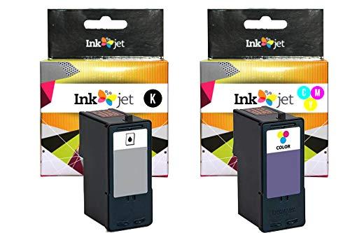 CVT - Pack 2 Tintas Recicladas 23 Negro 24 Tricolor Compatibles para Lexmark X3530, X3550, X4530, X4550, Z1410, Z1420, Z1450
